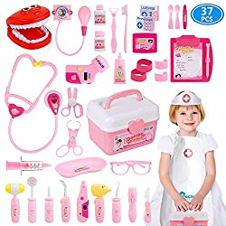 top 10 doctor play set 2U Toy Doctor Kit, 37 Kids Pretend to be playing a dentist's medicine educational toys playing as if they were playing toys …