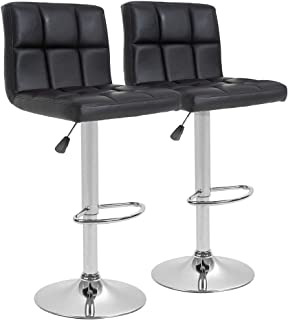 BestOffice Counter Height Bar Stools Set of 2 PU Leather Swivel BarStools for Kitchen Stool Height Adjustable Counter Stool Barstools Dining Chair with Back