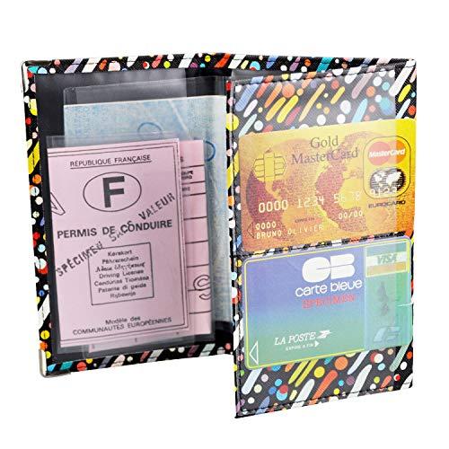 Charmoni - Porte Papiers De Voiture 3 Volets Permis Carte Grise CB en Cuir synthétique Neuf Majoric (Noir Multicolor)