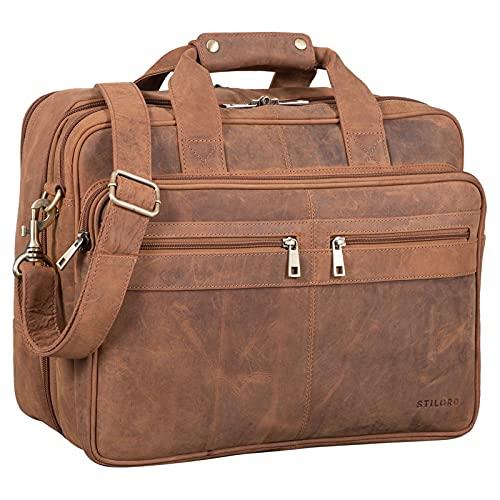 STILORD 'Alexander' Lehrertasche Herren Leder Vintage Aktentasche Laptoptasche Bürotasche Businesstasche groß XXL Umhängetasche mit Dreifachtrenner, Farbe:tan - Dunkelbraun