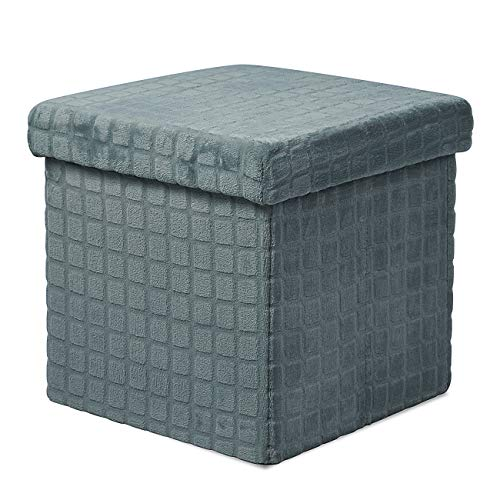 EYLAEM Ottoman with Storage Velvet Tufted Folding Ottomans with Lid 15 Inches Footrest Stool Cube Box with Padded Seat Storage Chest Coffee Table/Puppy Step Mosaic Design Support 380 lbs(Grey)