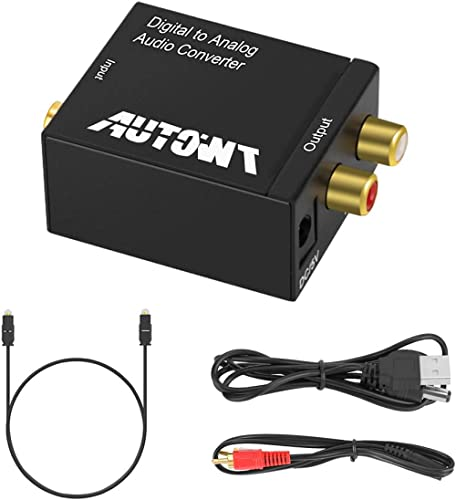 AutoWT Digital Audio to Analog Converter, Coaxial Toslink Adapter with Optical Cable, 3.5mm Audio Cable and USB Power...