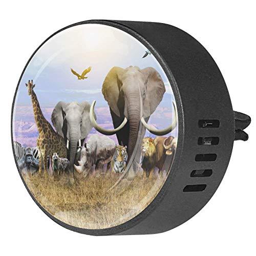Josidd 2PCS Car Aromatherapy Essential Oil Diffuser Car Air Freshener Locket Car Diffuser Vent Clip, Africa Animals Giraffe Elephant