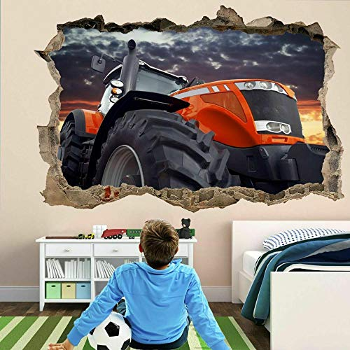 3D Etiqueta De La Pared Tractor Moderno 19.7X27.6 Pulgadas,Vinilos De Pared Destrozados Mural Calcomanías Para Dormitorio Pegatinas De Papel De Pared Desmontable.