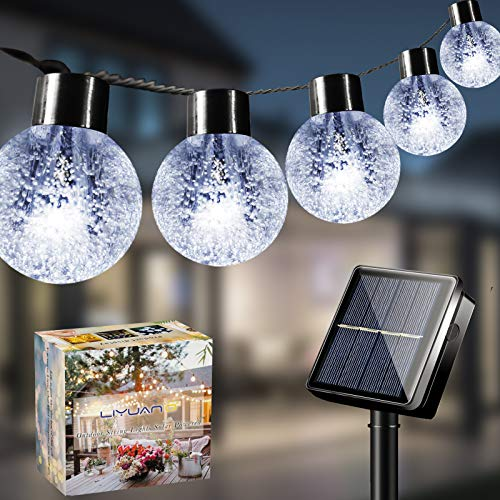 LiyuanQ Solar Globe Lights Garden Solar String Lights Outdoor 26Ft 30 LED 8 Mode Waterproof Decorative Crystal Bubble Ball Fairy Lights for Patio Yard Home Tree Wedding Christmas Party(Cool White)