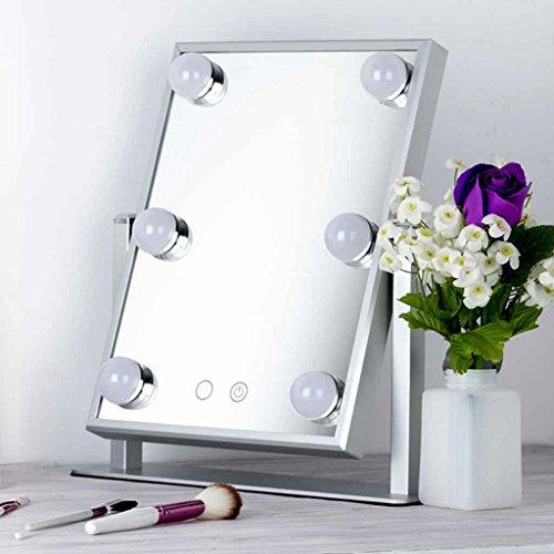 Miroirs De Maquillage LED De Vanité Princesse avec Lampe Bureau Unique Grande Lampe À Bulb Bureau HD Grand Froid Et Chaud Réglage De La Lumière (Couleur : Silver)