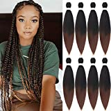 26 inch Pre Stretched Braiding hair Ombre Colors Yaki Texture Hair Braids 8 Packs Hot Water Setting Top Quality Synthetic Fiber Crochet Braiding Hair Extensions (26 inch, 1B-30)