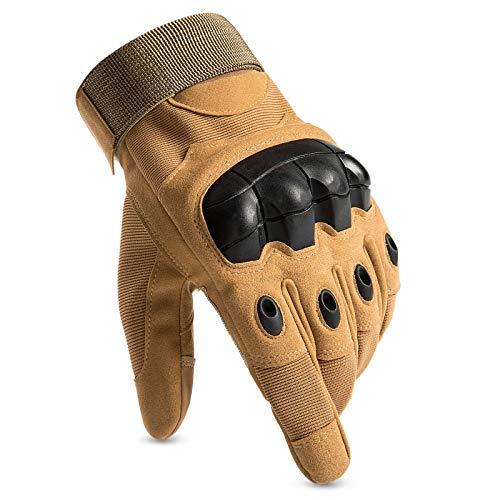 Huntvp Taktische Handschuhe Touchscreen Militär Einsatzhandschuhe Atmungsaktiv Fahrrad Handschuhe Motorradhandschuhe für Softair Paintball Wandern Klettern Radsport, Braun L
