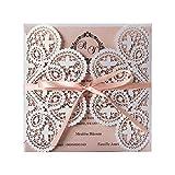 20 pezzi invito di nozze tagliati laser bianco e rosa con flora vuota per inviti matrimonio doccia fidanzamento compleanno, incl busta