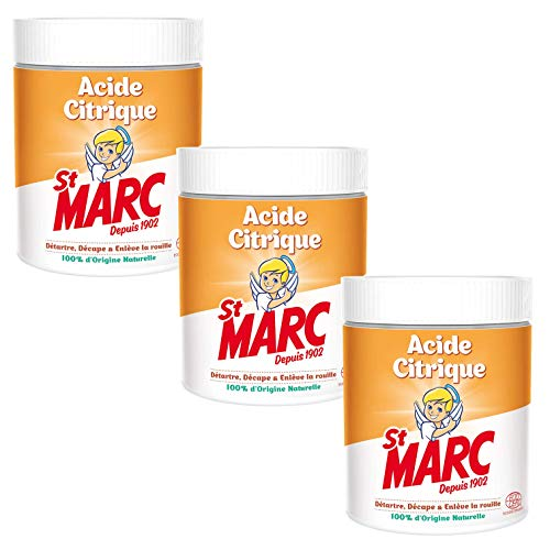 St Marc Acide Citrique Nettoyant Multi-Usage 100% d'Origine Naturelle 500 g - Lot de 3