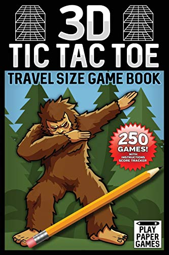 3D Tic Tac Toe Game Book: Bigfoot Edition 250 Puzzles With Instructions and Scorecard Travel Size
