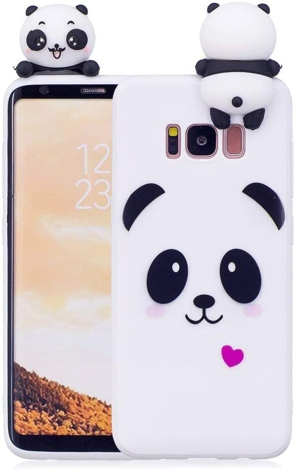 Phone Case for Samsung Galaxy A70 Case LAPOPNUT Soft Back Cover 3D Cartoon Panda Candy Colour Girly Bear Design Slim Flexible Protective Case Cover Bumper for Girls, White