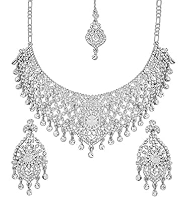 Touchstone Indian Bollywood masterly Created Sparkling Rhinestone Grand Bridal Jewelry Necklace Set for Women in Silver Tone