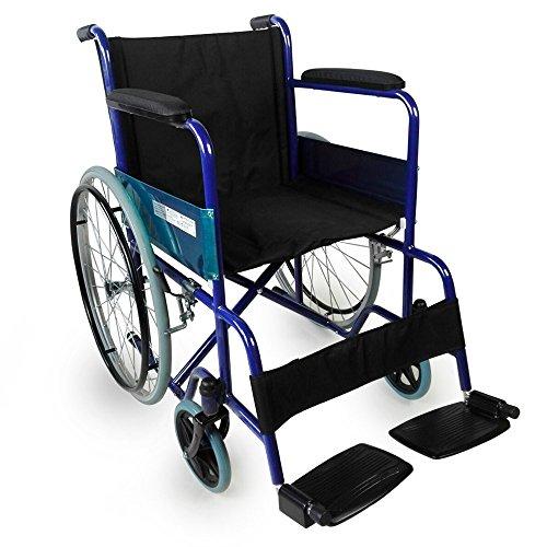 Mobiclinic, Modell Alcazar, Orthopädischer Rollstuhl, faltbar, europäische Marke, für Behinderte, manuelle Bremse, feste Armlehnen und klappbare Fußstützen, Farbe Blau/Schwarz, Sitzfläche 46 cm