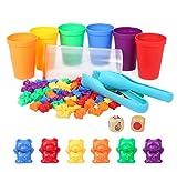 Opopark Juego para Contar 71 Piezas Contar con los Osos de Colores Coordinados,Osos de Colores Coordinados con Vasos Apilables Apilables Infantil Juguetes Montessori para Nios Pequeos