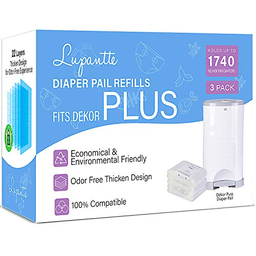Dekor Plus Diaper Pail Refills Up to 1740 Diapers by Lupantte, 100% Compatible for Dekor Plus Size Diaper Pails, No Scent, 22 Layers 90% Extra Thicken Design for Odorless Experience, 3 Packs