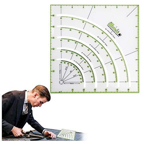 ミシンキルト定規 キルティング定規 パッチワーク アクリル縫製定規 多機能アークフ ァンキルトサークルカッター定規 クラフトパッチワークテーラー定規 生地定規 DIY縫製用品 裁縫道具 生地計測・裁断用