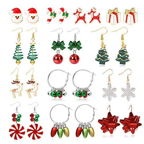 4/6/9/13 pairs Christmas Bells Earrings for Women,Christmas Dangle Hook Earrings Set with Bells, Christmas Trees, Snowflakes for Women Girls Thanksgiving Xmas (13 pairs)