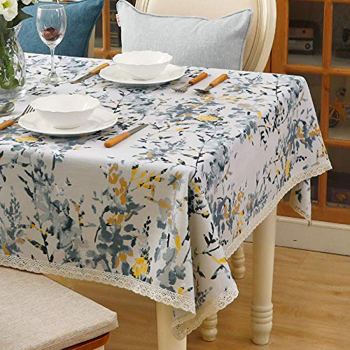 YuHengJin Shop Rectangle Tablecloth Fabric Wear Resistant and Breathable Quality Durable Table Cover Wedding Decorations Blue 130×130cm