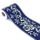 Adhesivo decorativo para pared, diseño floral, color azul marino, 10 cm x 10 metros