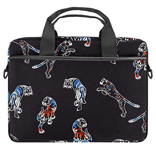 Computer Bag Suitable for MAC Computers Men and Women Handbags: 13.4 inch-14.5 inch Lightweight 15 Inch Laptop Bag Business Messenger Hand Drawn White Line Tiger
