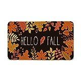 Artoid Mode Hello Fall Maple Leaves Decorative Doormat, Seasonal Autumn Harvest Vintage Thanksgiving Low-Profile Floor Mat Switch Mat for Indoor Outdoor 17 x 29 Inch