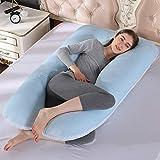 SYue Almohada para el Embarazo en Forma de U, 51 Pulgadas, Funda de Terciopelo extraíble para Mejorar la Comodidad del sueño con extensión Desmontable