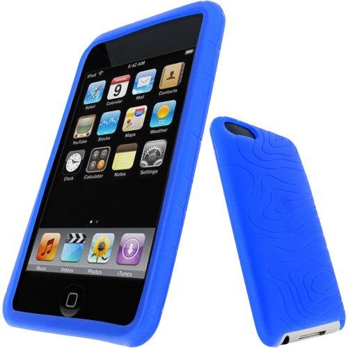 iGadgitz U0299 Silikon Hülle Etui Case Schutzhülle Tasche Kompatibel mit Apple iPod Touch 2. & 3. Generation mit Schutzfolie - Blau