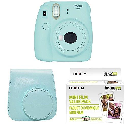 Fujifilm Instax Mini 9 Instant Camera with Instax Groovy Camera Case (Ice Blue) & Instax Mini Instant Film Value Pack