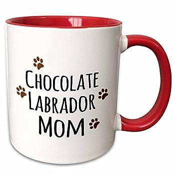 3dRose 154147_5 Chocolate Labrador Dog Mom-Lab Brown Muddy paw Prints Mug 11 oz Red