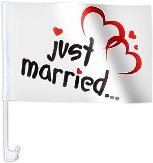20 STK. Alsino Autoflagge AFL 10 Autofahne für die Hochzeit 'Just Married' Auto Flagge Fahne