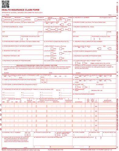 "CMS 1500 Claim Forms ""ICD-10"" HCFA (Version 02/12) - Health Insurance, Laser Cut Sheet - 1000 Sheets"