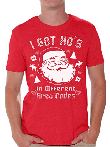 Awkward Styles I Got Hos in Different Area Codes Santa T Shirt Christmas Shirts M Red