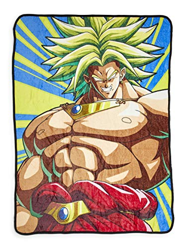 Dragon Ball Z Broly Fleece Throw Blanket - Cozy 45' x 60' Soft Fluffy Warm Lightweight Comforter - for Bed, Dorm, Living Room, Camping, DBZ Bedding - Cute Kids & Anime Series Fan Gifts & Collectibles