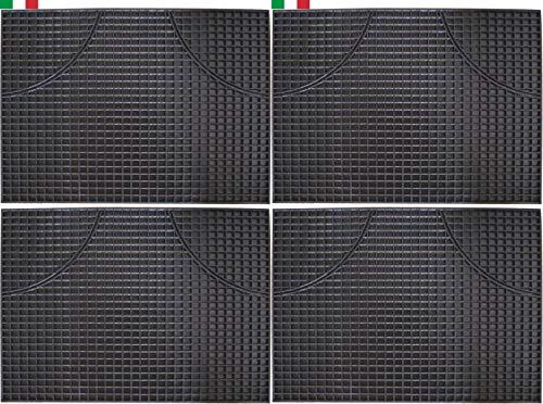 Cenni 33474 Set 4 Tappetini Auto in Gomma Rettangolari 47 x 35, Salva Tappeti Made in Italy