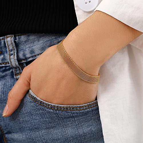 Collar Pulseras De Cadena Tejidas con Cinturón De Malla Vintage para Hombres, Collares De Gargantilla Chapados En Oro De 18 K para Mujeres, Pulsera De Joyería De Pareja De Acero Inoxidable