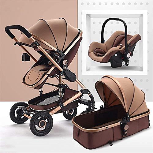 Cochecito para bebés de absorción de choque, carro de bebé portátil 3 en 1, arnés de 5 puntos y canasta de almacenamiento alta, cochecito de cochecito para bebés y niños pequeños ( Color : Marrón )