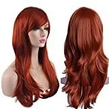 AKStore Women's Heat Resistant 28-Inch 70cm Long Curly Hair Wig with Wig Cap, Brown