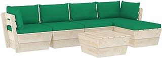 vidaXL Madera de Abeto Muebles de Jardín de Palets 6 Piezas y Cojines Mobiliario Exterior Terraza Cocina Casa Asiento Mesa Silla Suave con Respaldo