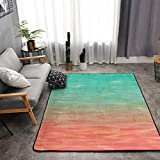 NiYoung Premium Durable Thick Area Rug Luxury Non-Slip Large Rugs Bedside Mats Home Decor Carpet for Bedroom Nursery Living Room Playroom - Blue Peach Coral Turquoise Watercolor Teal Orange Aqua