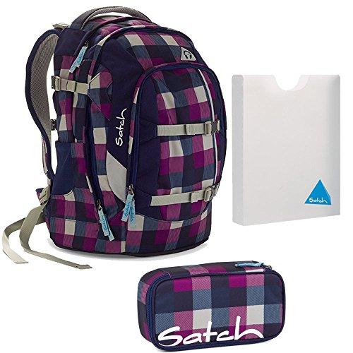 satch by Ergobag Rucksack 3tlg. Set Berry Carry Lila Blau Rucksack, Schlamperbox & Stylerbox