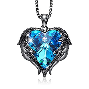 CDE Angel Wing Necklaces for Women Embellished with Crystals from Swarovski Pendant Necklace Heart Of Ocean Jewelry Gift for Woman D_Dark Blue  Brass