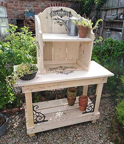 Unbekannt Pflanztisch Gartentisch Cafe & Legumes mit Aufsatz Shabby Stil Holz Gusseisen