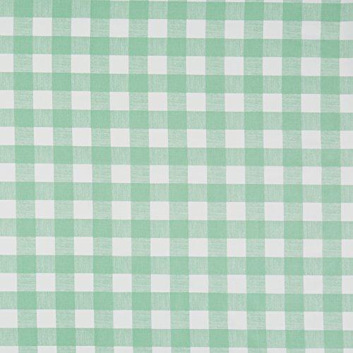 Mantel de algodón con revestimiento de vinilo, fácil de limpiar, diseño de cuadros, color verde, 100% algodón vinilo algodón, Verde, 140 x 240 cm