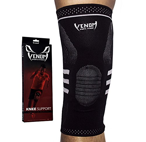 Venom Knee Sleeve Compression Brace - Elastic Support & Side Stabilizers, Runner's Knee, Jumper's Knee, Arthritis Pain, ACL, Basketball, Soccer, Crossfit, Lifting, Running, Sports, Men, Women (XL)