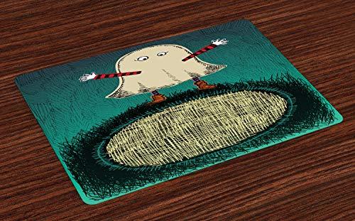 ABAKUHAUS Geest Placemat Set van 4, Grappig kind in een Kostuum Sketch, Wasbare Stoffen Placemat voor Eettafel, Veelkleurig