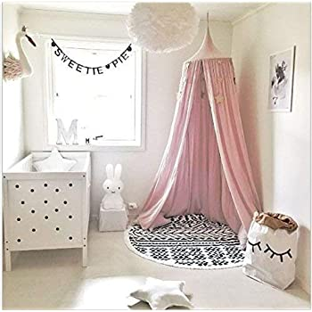 Amazon Com Yskdjsa Children Bed Canopy Round Dome Nursery Decorations Cotton Mosquito Net Kids Princess Play Tents Room Decoration For Baby Color B Home Kitchen