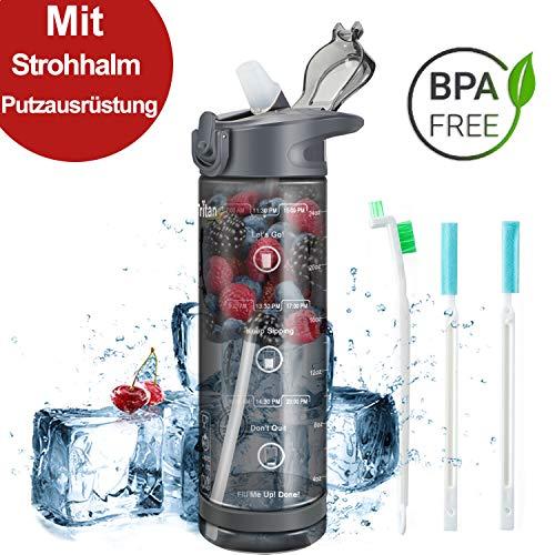 IceFrog Trinkflasche Kinder mit Strohhalm, [BPA Frei Tritan] 550ml 850ml Auslaufsicher Wasserflasche Sport, Sportflasche Fahrrad für Schule Camping Gym (550 ml, Grau)