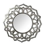 Espejo de Pared Redondo de Resina con Dibujo en Plateado