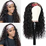 Headband Wig Water Wave None Lace Front Wigs Human Hair Brazilian Virgin Hair Glueless Machine Made Wet and Wavy Headband Wigs for Black Women Headband Wigs Natural Color 150% Density (18 Inch)